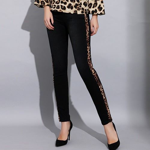 Women Skinny High Waisted Black Jeans with Stripes Sexy Leopard Print  Striped Jeans Elastic Women Pencil Pants Denim Trousers