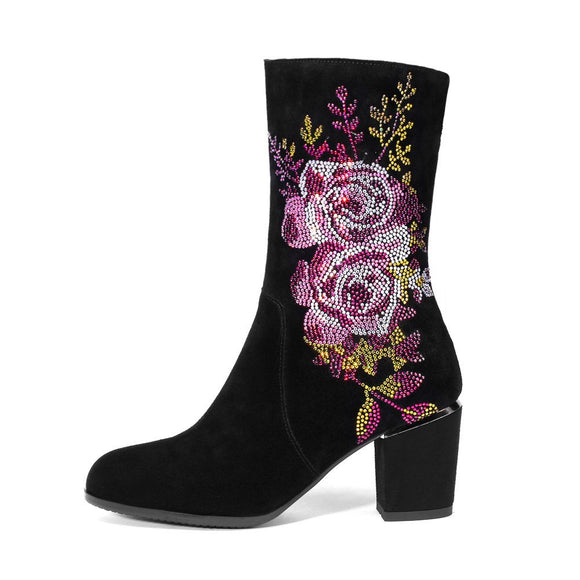 Women's Ankle Boots Genuine Suede Leather Embroidery Flower High Heel Autumn Brand Luxury Crystal Black Short Booties Shoes