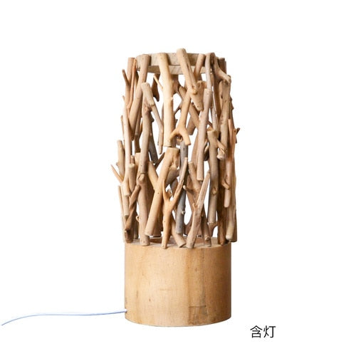 Wooden Flower Arrangement Table Lamp Nordic Style Home Creative Decoration Bedroom Living Room Flower Arrangement LED Table Lamp