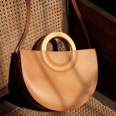 Wooden Handle Halfmoon Women Handbags Casual Crossbody Bags For Women Large Capacity Shoulder Bag Lady Handbag Clutch Purse 2019
