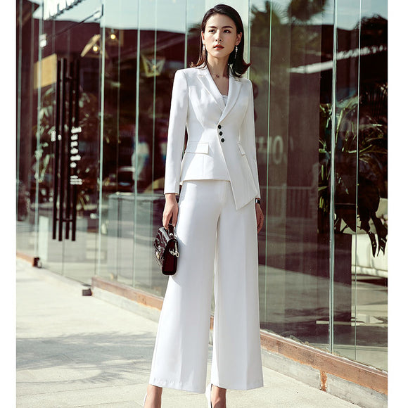 Work white Irregular Women Suits Single Breasted Slim Pant Suits Blazer Jacket and Pencil Pant Office Lady 2 Pieces set