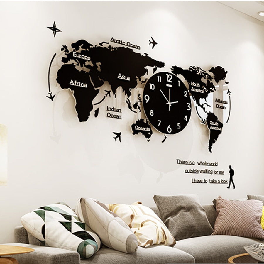 World Map Large Wall Clock Modern Design 3D Stickers Hanging Clock Glowing  in Dark Unique Watch Wall Clocks Home Decor Silent