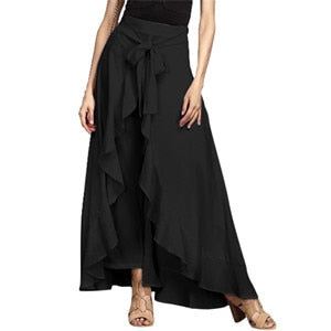 Wrap Skirts for Women 2018 New Casual Fashion Navy Chiffon Long Skirt Pants Tie-Waist Ruffle Wide Leg Loose Pants Black Grey