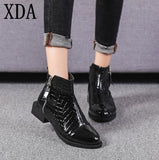 XDA 2019 High Quality Ankle Boots Women shoes Leather Double Zipper Metal martin boots Spring Autumn Short Booties Size 40 W952