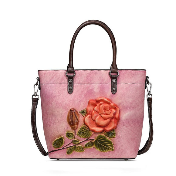 XIYUAN Genuine Leather floral handbag  Luxury Handbags Women Bags Designer 2020 New Retro Totes Cowhide tote bag crossbody bags
