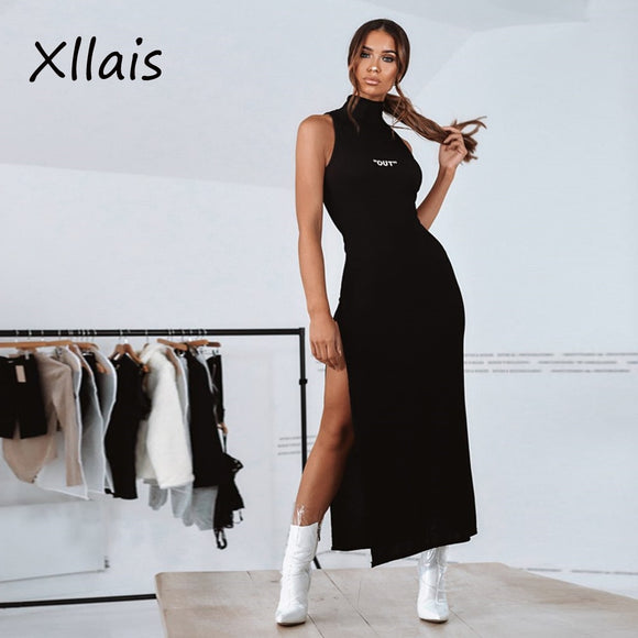 XLLAIS 2019 New Women Summer Solid Black High Neck Sleeveless High Split Bodycon Long Dress Sexy Party Dresses