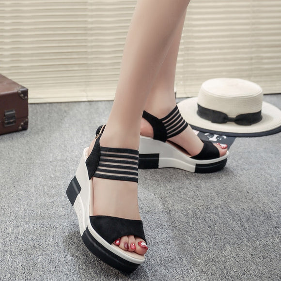 YOUYEDIAN Wedges Women Sandals 2019 Summer Buckle Platforms Sandals Women High Heel Women Casual Shoes Sandalias Mujer