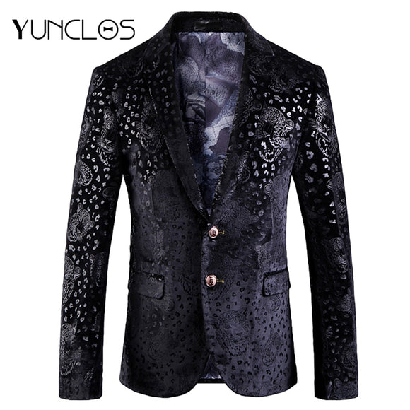 YUNCLOS 2019 Autumn New Bronzing Men Blazer Wedding Groom Men Slim Fit Suit Jackets High Quality Cotton Blazer Jackets For Men