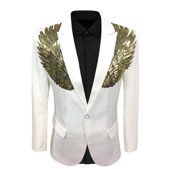 YUNCLOS 2019 Wings Design Men Suit Jacket Spring Single Breasted Wedding Party Blazer Men Slim Fit Suit Blazer Fashion Blazer