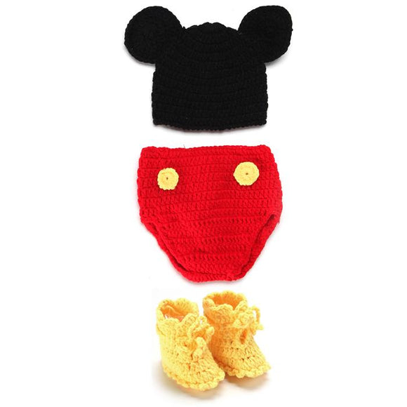 baby animal costumes micky mouse Baby Newborn milestone Photo Props infant knitted Hat Photography Accessories Birth celebration
