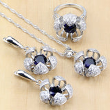 Silver 925 Jewelry Blue Cubic Zirconia With Beads Jewelry Sets For Women Wedding Earrings/Pendant/Ring/Necklace Set