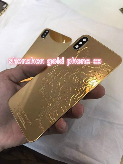 for iphone X  8mu real gold plated Housing with Metal Frame Battery Door Replacement full set with lion leopard design