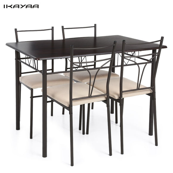 iKayaa US FR Stock 5PCS Modern Metal Frame Kitchen Table Chairs Set for 4 Person Furniture 120kg Capacity Dining Room Sets