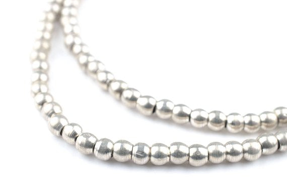 120 Silver Sphere Beads: Ethnic Metal Beads Metal Spacer Beads Silver Round Beads 4mm Silver Beads Silver Ball Beads (MET-RND-SLV-568)