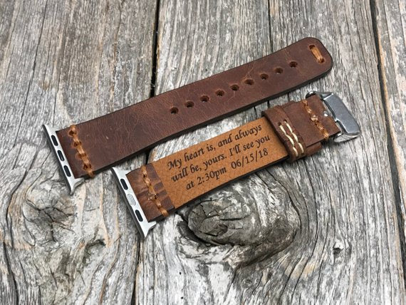 Personalized Antique Leather Watch Band Custom Hand Made Inside Out Men S Leather Apple Watch Band Elegant Band Groomsmen Gifts