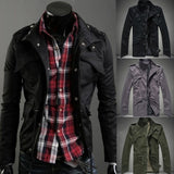 men's jacket fashion small lapel slim outerwear with zipper jackets