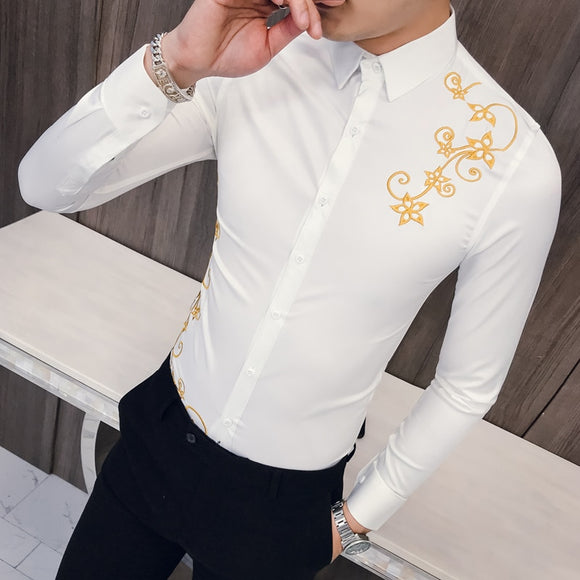 new Korean Embroidered Shirt Men Kemeja Pria Slim Fit Long Sleeve Shirt Men Social Club Prom Shirt Camisa Masculina 2019 Spring