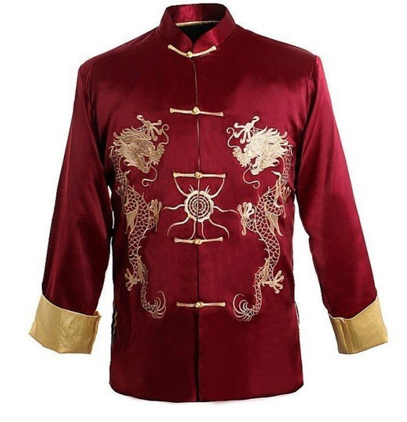 Burgundy Traditional Chinese Men's Kung-u Jacket Coat shirt  Embroidery with Dragon