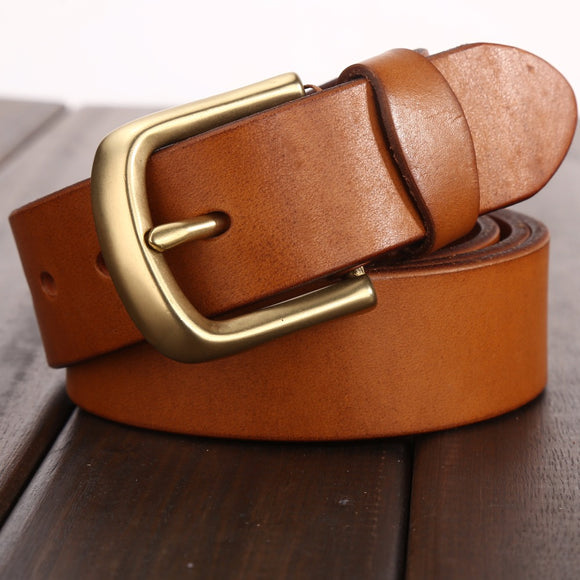 Camel vegetable tanned belt solid brass buckle high quality mens belts luxury full grain