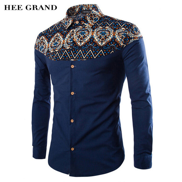 HEE GRAND Men's Shirts 2017 Hot Sale Fashion Printing Pattern Linen Casual Turn-Down Collar Slim Camisa Masculina MCL1094