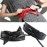 Fashion Women Belt Long Section Of the Circle Soft Leather Bowknot Body Shaping