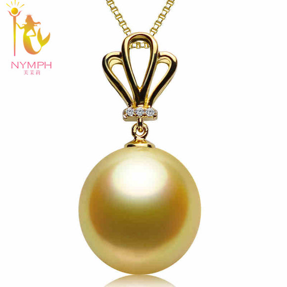 Pearl Jewelry Fine Jewelry 18K Yellow Gold Natural Gold South Sea Pearl Necklace Pendant for women  [HGJX]