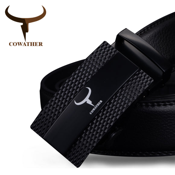 COWATHER 100% cow genuine leather belts for men 2017 top qulaity automatic alloy