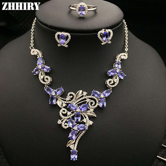 Natural Blue Tanzanite Gemstone Jewelry Sets Genuine Solid 925 Sterling Silver Women