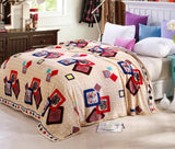 cute plush Package edge technology Pattern  High Density Super Soft Flannel Blanket