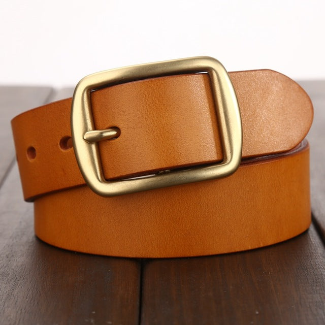 Leather Belt Men Women Unisex Genuine Quality Vegetable Tanned Leather