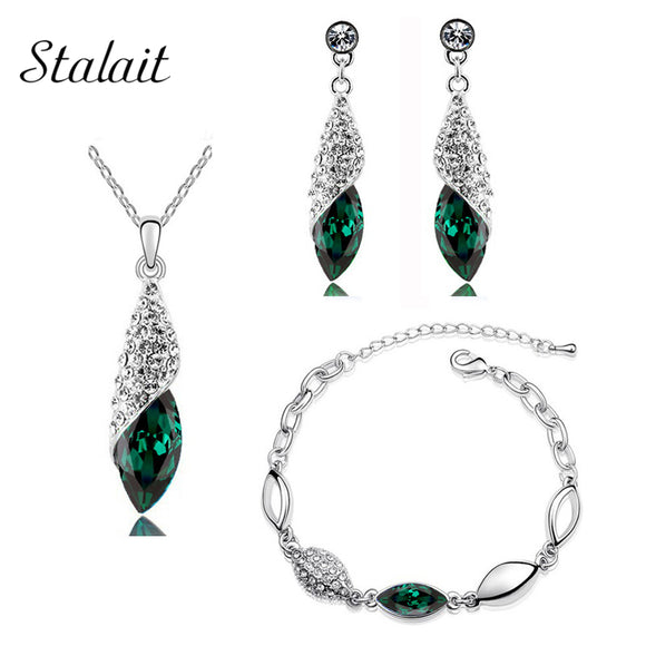 Horse Eye Shaped Full Drilling Crystal Rhinestone Green Necklace Water Drop Earring