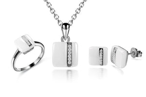CMAJOR Square Shaped White Ceramic Ring Necklace Earrings With CZ Jewelry Sets