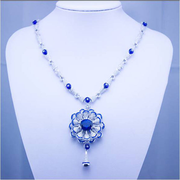 Qi Xuan_Fashion Jewelry_Customized Blue Stone Luxury Wedding Jewelry Set_S925 Silver Fashion Jewelry Set_Factory Directly Sale