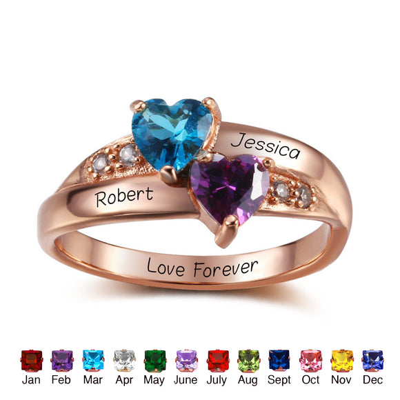 Promise Rings For Her Personalized Birthstone 925 Sterling Silver Cubic Zirconia Ring DIY Names Heart Lover Rings Free Engraved