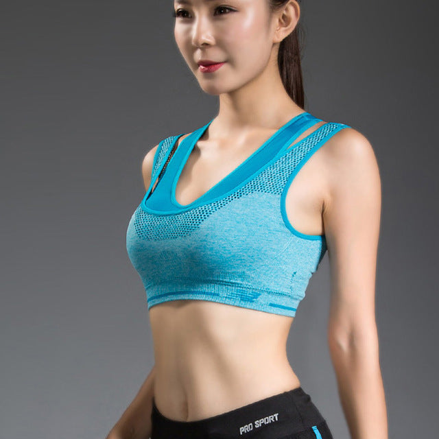 Women/'s High Impact Double Layer Wirefree Padded Racerback Sports Bra