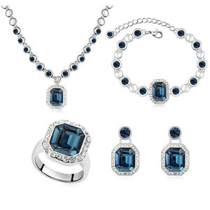 Crystal from Swarovski Elements Fashion Jewelry Sets For Women Necklace Earrings Pendant Bracelets Rings  9335