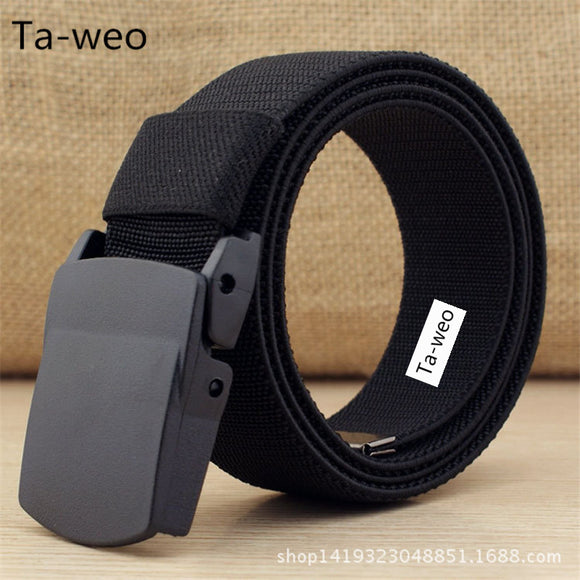 Casual High Elastic Belt, Plastic Automatic Buckle Belt, Men's Canvas Belts High Quality