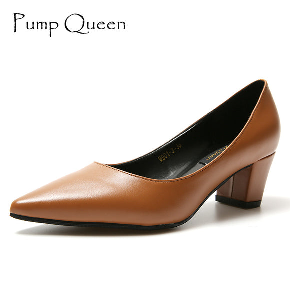 Casual Stable Women Pumps 5CM Med Thick Heels Shoes Woman Ladies Shoes Office