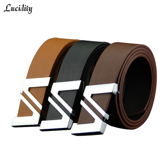Lucidity Men's Leather Belt Smooth Buckle Brand Name Men Belts PU Leather Alphabet