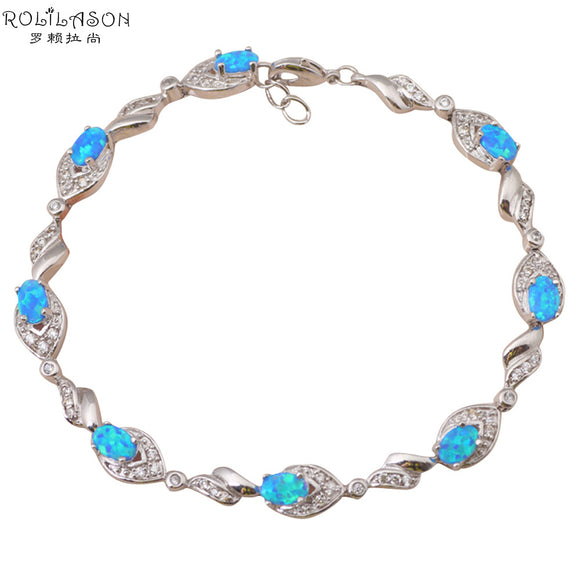 Hot Sell Wholesale Amazing Blue Fire Opal Zircon Silver Stamped Christmas Bracelets