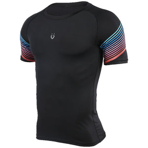 Men Compression Shirt Fitness Jogger Exercise Clothes Fashion Casual Short Sleeve T-Shirt