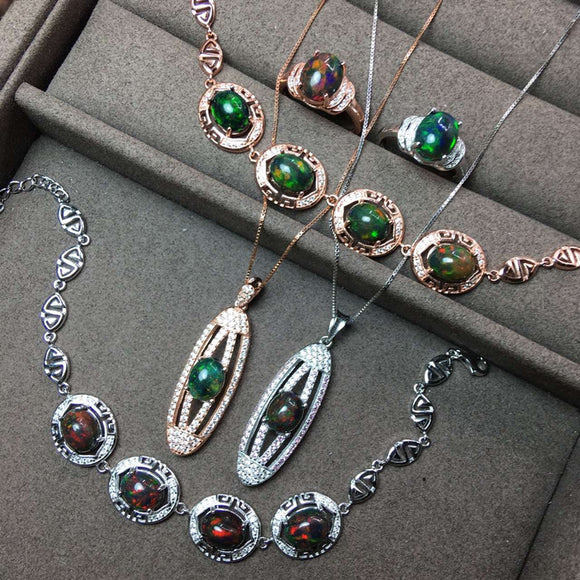 Christmas Gifts 925 Sterling Silver Necklaces/Ring/Bracelets For Women African Natual
