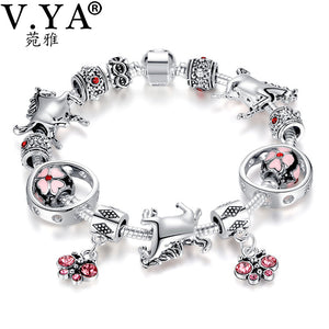 V YA Pink Beads for Snake Chain Women's DIY Bracelets Bangle Statement Jewelry Woman Class Bead Charm for Christmas' Gifts