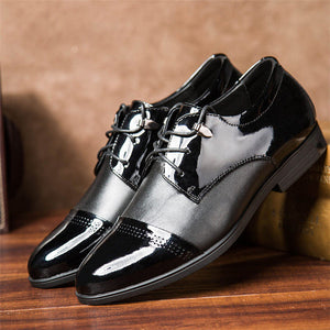Merkmak Genuine Leather Men Shoes Fashion Oxfords Lace Up Pointed Top Designer