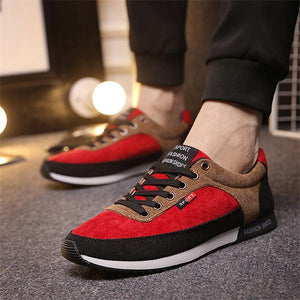 Merkmak Men's Shoes Causal Red Suede Man Footwear Shoes Fashion Breathable