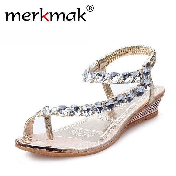 Merkmak 2018 New Sweet Crystal Rhinestone Summer Sandals Women Gladiato Sandals