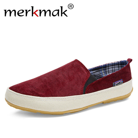 Merkmak Shoes New Arrival! 2017 fashion Men's Breathable Canvas Casual Shoes