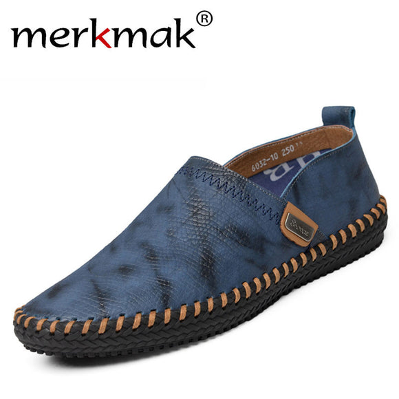 Merkmak Genuine Leather Men's Flats Shoes 2017 Casual Fashion Loafer Footwear Men