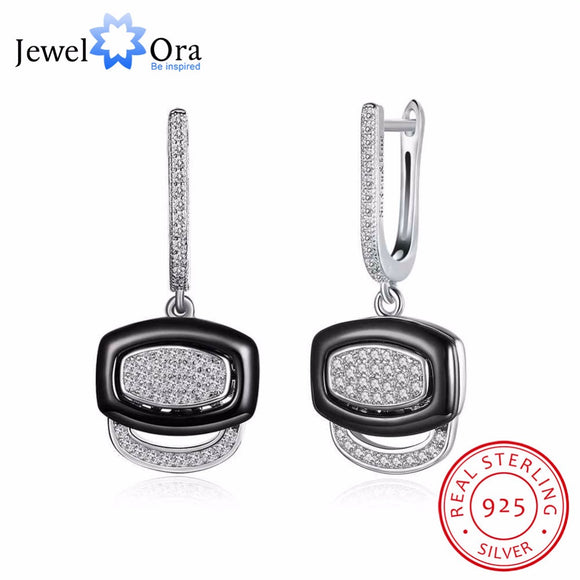 Black Ceramic 925 Sterling Silver Crystals Drop Dangle Earrings Female Fine Jewelry Wedding Accessories Gift JewelOra EA101964