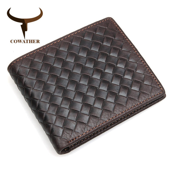 COWATHER 100% top quality cow genuine leather men wallets luxury,dollar price short style male purse,knitting wallet